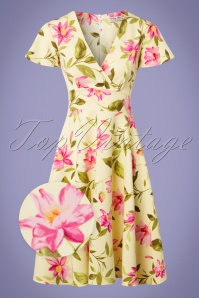 Vintage Chic Floral Yellow Swing Dress 102 89 25539 20180531 0002wv