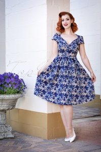 Lindy Bop Floral Blue Dress 102 59 25794 20180503 0010W
