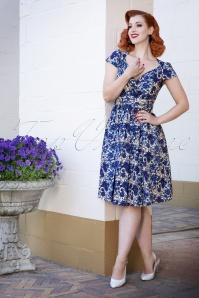 Lindy Bop Floral Blue Dress 102 59 25794 20180503 0009W