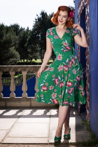 50s Layla Cross Over Floral Swing Dress in Emerald Green