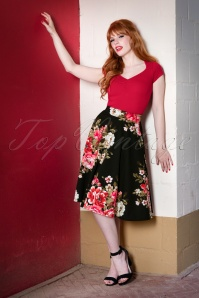 Steady Clothing 50s Flora Floral Thrills Skirt in Black
