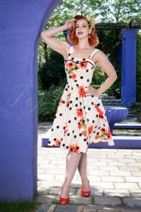 Hearts and Roses While Polkadot Floral Dress 102 59 24553 20180503 05W
