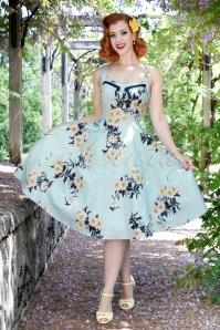 50s Daisy Swing Dress in Vintage Blue