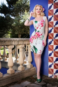 Hearts and Roses White Pink Pencil Dress 100 59 24549 20180416 2W