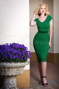 50s Laverne Pencil Dress in Emerald Green