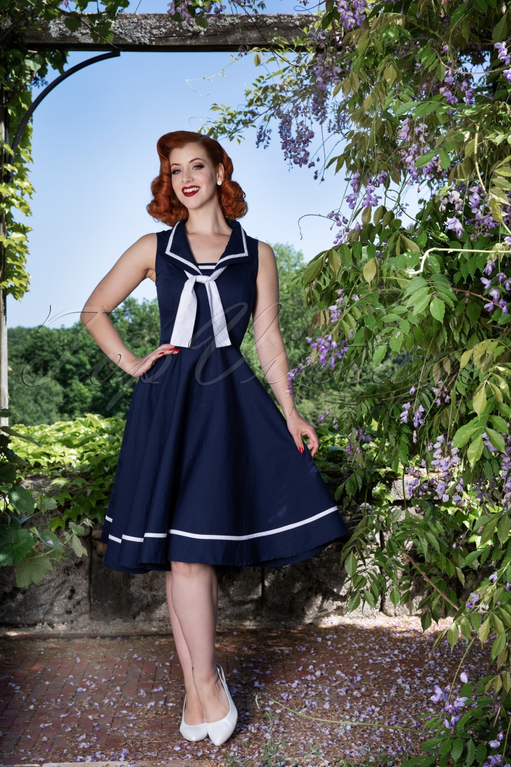 Sailor Dresses, Nautical Dress, Pin Up & WW2 Dresses 50s Mary Swing Dress in Navy £46.78 AT vintagedancer.com