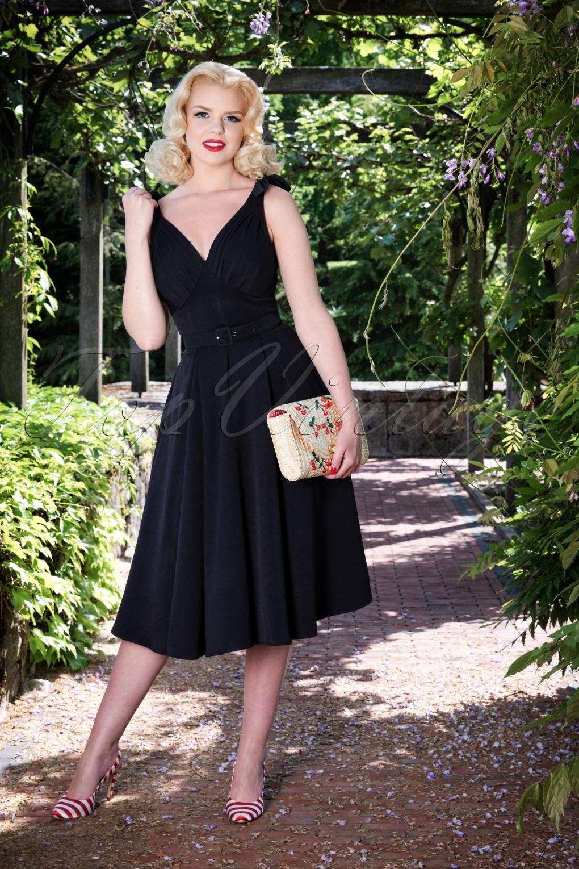 Rockabilly Dresses | Rockabilly Clothing | Viva Las Vegas 50s Marissa Lee Bow Swing Dress in Navy £90.87 AT vintagedancer.com