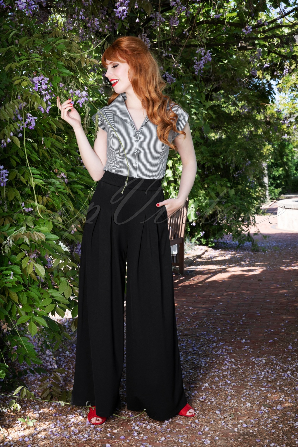 Vintage High Waisted Trousers, Sailor Pants, Jeans 70s Indiana Trousers in Black £49.57 AT vintagedancer.com