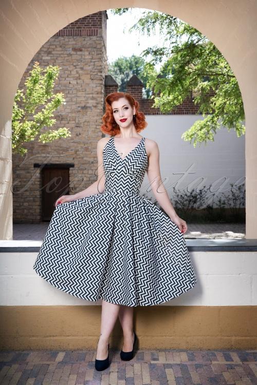 Miss Candyfloss Zig Zag Swing Dress in Blue 102 39 24195 20180508 2W
