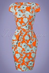 60s Camilla Floral Tulip Dress in Orange