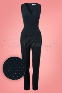 60s Lori Pindot Jumpsuit in Navy