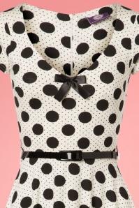 TopVintage Boutique Collection White Polkadot Belt Swing Dress 25963 20180605 0063V
