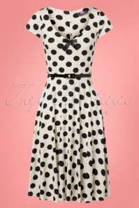 50s Blossom Dot Swing Dress in Black and White