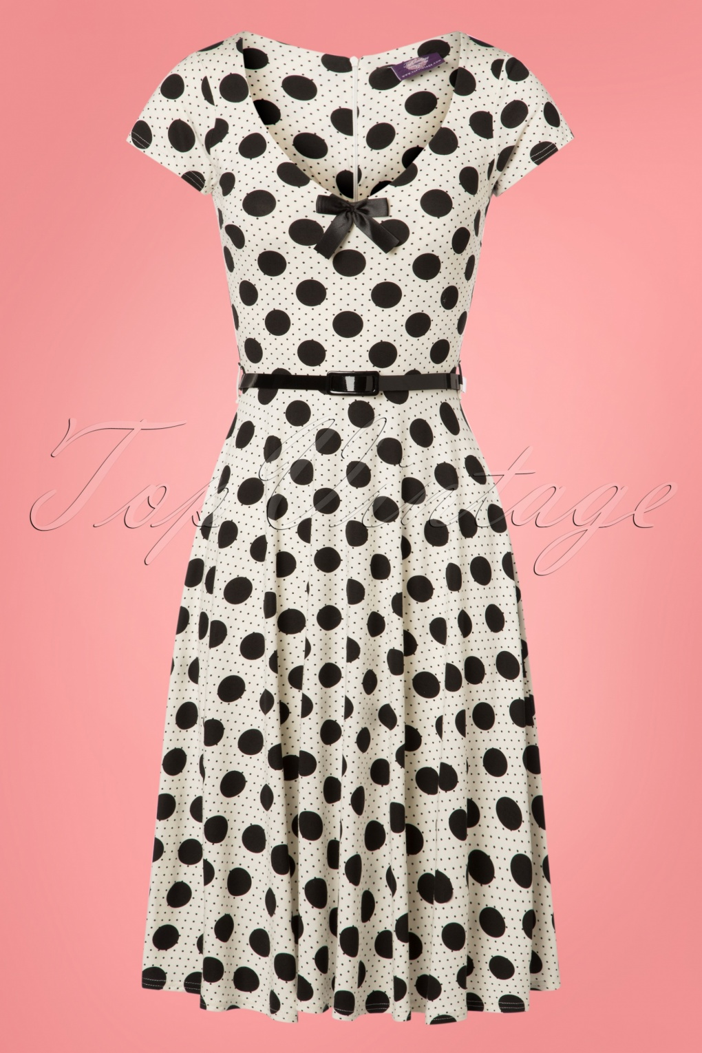 50 Vintage Inspired Clothing Stores 50s Blossom Dot Swing Dress in Black and White £60.39 AT vintagedancer.com