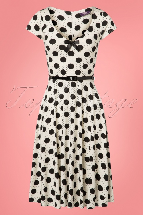 TopVintage Boutique Collection White Polkadot Belt Swing Dress 25963 20180605 3W