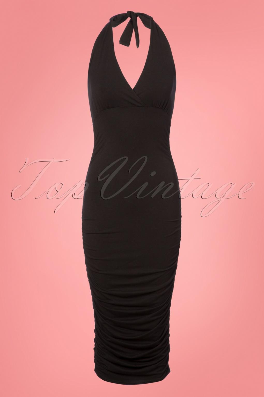 Vintage Cocktail Dresses, Party Dresses, Prom Dresses 50s Gia Pencil Halter Dress in Black £48.62 AT vintagedancer.com