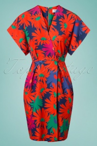 60s Dharma Floral Kimono Wrap Dress in Orange