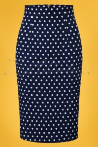 50s Falda Polkadot Pencil Skirt in Navy