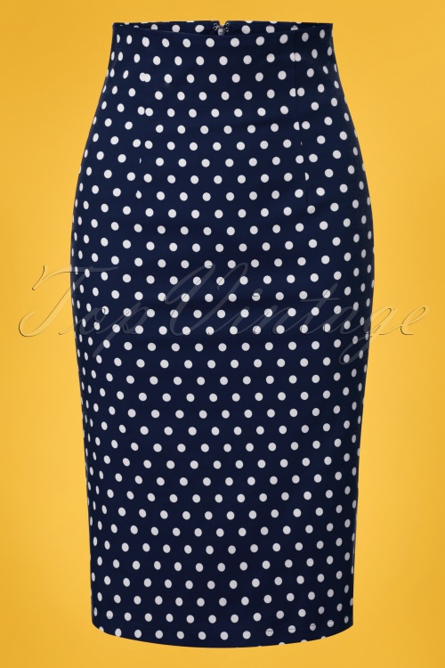 Dolly and Dotty Navy Polkadot Pencil Skirt 120 39 26289 20180605 0003W