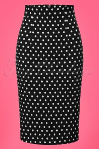 50s Falda Polkadot Pencil Skirt in Black