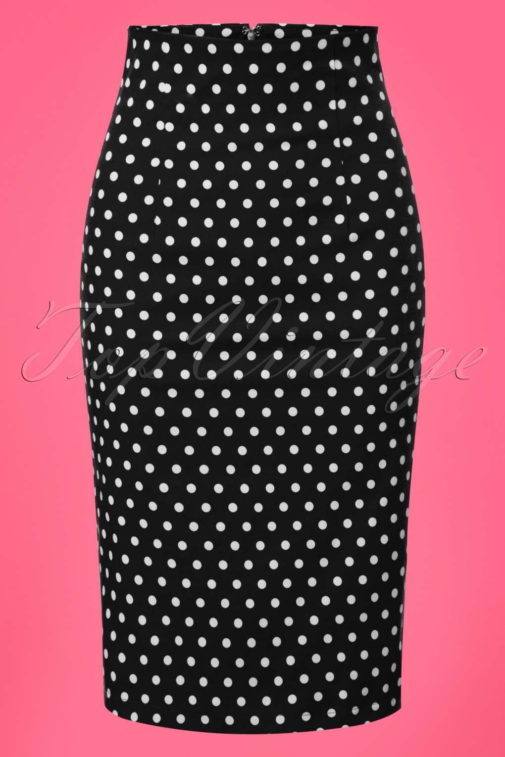 Retro Skirts: Vintage, Pencil, Circle, & Plus Sizes 50s Falda Polkadot Pencil Skirt in Black £35.35 AT vintagedancer.com