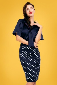 Dolly and Dotty Navy Polkadot Pencil Skirt 120 39 26289 20180605 0004