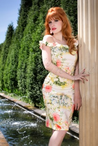 Hearts and Roses Light Floral Pattern Pencil Dress 100 59 24545 20180416 2VW