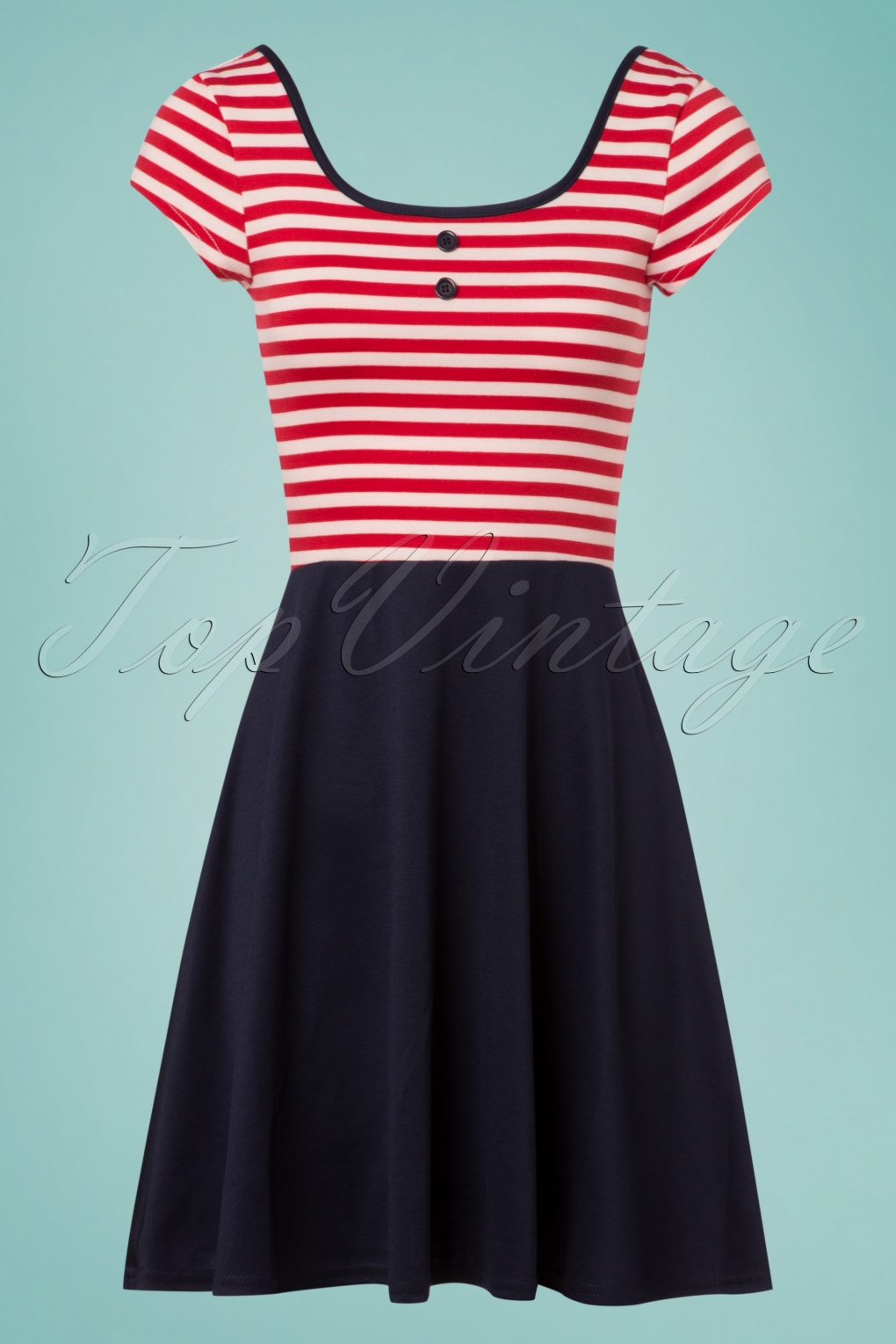 Sailor Dresses, Nautical Dress, Pin Up & WW2 Dresses 60s Salty Sailor Skater Dress in Navy and Red £51.15 AT vintagedancer.com