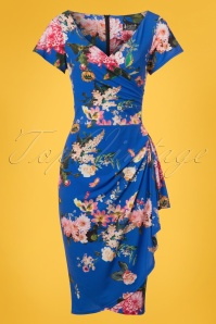 50s Elsie Summer Cherish Pencil Dress in Royal Blue