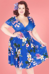50s Lyra Summer Cherish Swing Dress in Royal Blue