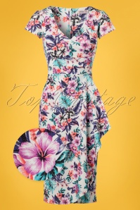 50s Kalea Tropical Pencil Dress in Ivory