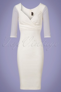 50s Abigail Special Occasion Diva Pencil Dress in Off White
