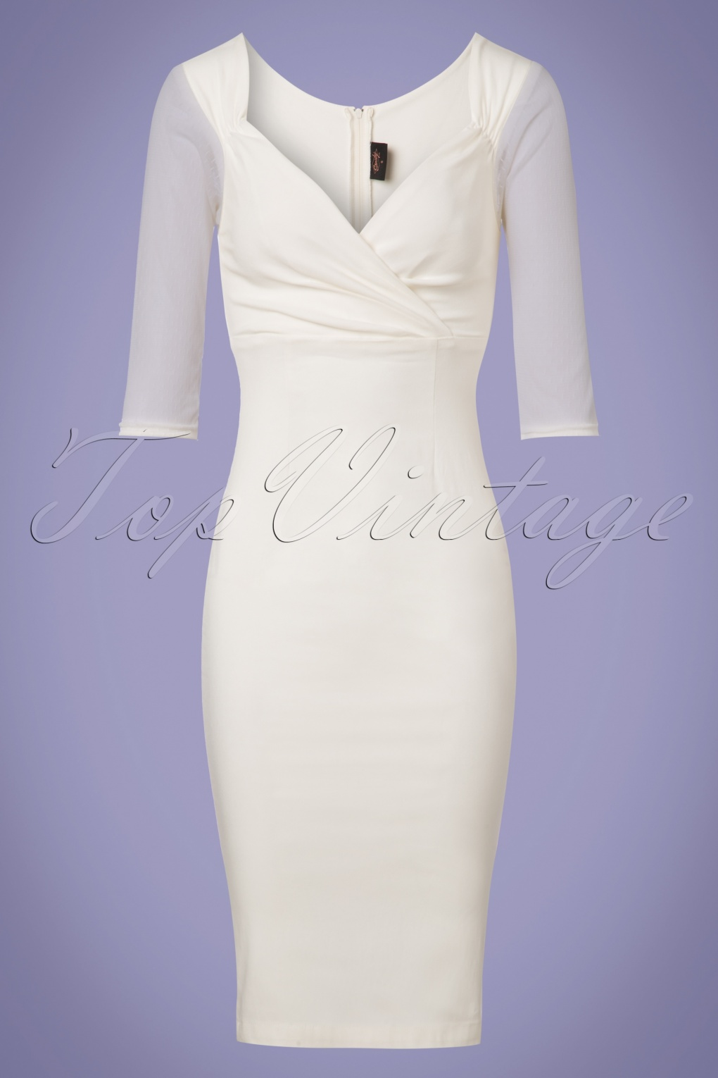 Vintage Inspired Wedding Dress | Vintage Style Wedding Dresses 50s Abigail Special Occasion Diva Pencil Dress in Off White £79.59 AT vintagedancer.com