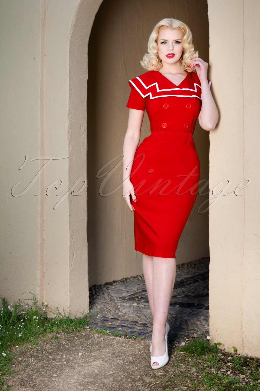Sailor Dresses, Nautical Dress, Pin Up & WW2 Dresses 50s Captain Pencil Dress in Red £123.84 AT vintagedancer.com