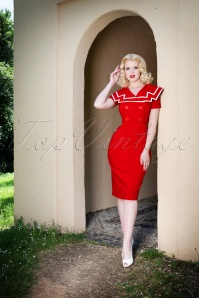 Tatyana Captain Pencil Dress Red 100 20 24865 20180420 4W
