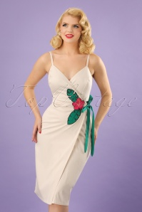 Collectif Clothing Della Hibiscus Pencil Dress in Cream 22843 20171121 0012w