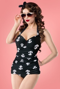 50s Adeline Anchor Swimsuit in Black