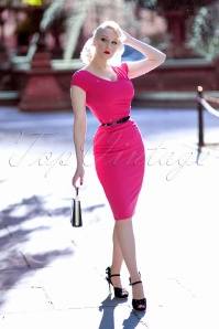 50s Laverne Pencil Dress in Hot Pink