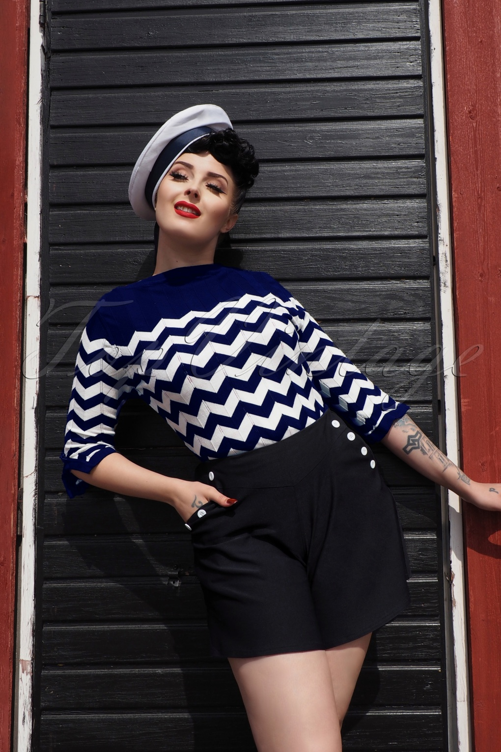 Sailor Dresses, Nautical Theme Dress, WW2 Dresses 60s Vanilla Top in Navy and White £38.54 AT vintagedancer.com