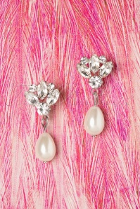 50s Margaret Crystal Pearl Drop Earrings in Cream