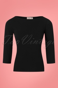 Vintage Chic Scuba Crepe Black Long Sleeve Shirt 113 20 26356 20180702 0001W