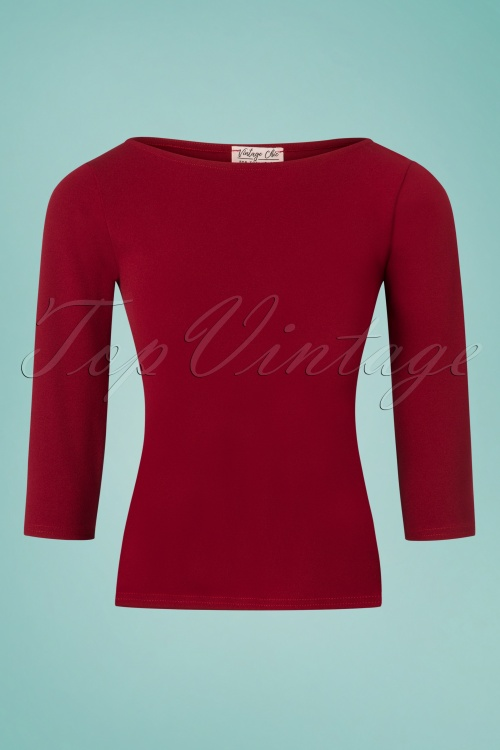 Vintage Chic Scuba Crepe Wine Red Long Sleeve Shirt 113 20 26357 20180702 0001W