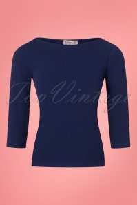 50s Bonnie Bodycon Top in Navy