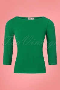 50s Bonnie Bodycon Top in Emerald