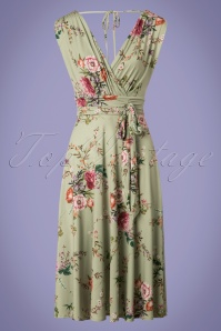 50s Jane Floral Midi Dress in Vintage Green