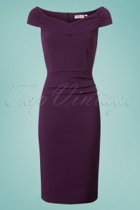 Vintage Chic Scuba Crepe Aubergine Purple Pencil Dress 100 31 26382 20180702 0003W