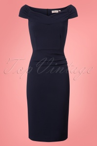 Vintage Chic Scuba Crepe Navy Pencil Dress 100 31 26381 20180702 0003W