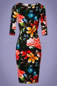 50s Damboru Floral Pencil Dress in Black