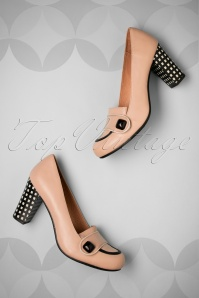 60s Rejilla Leather Pumps in Dusty Pink