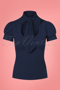 50s Bonnie Tie Neck Top in Navy